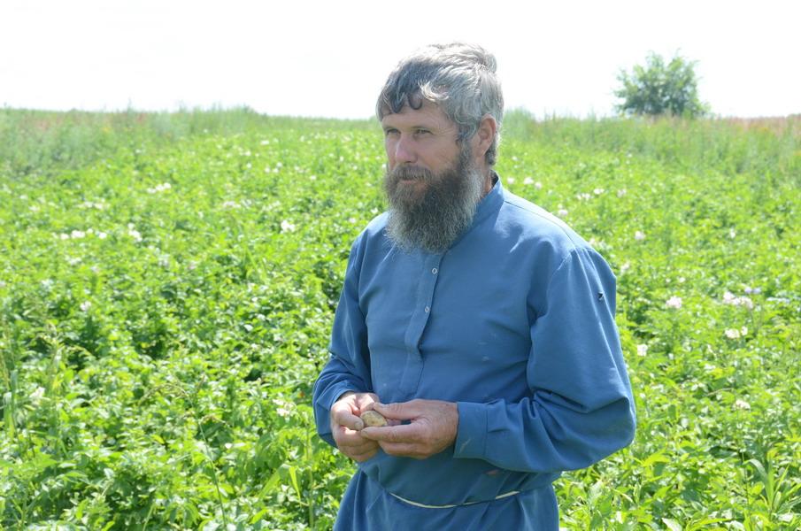 Терентий Мурачев на собственном картофельном поле. Фото Глеба Чистякова. 2013