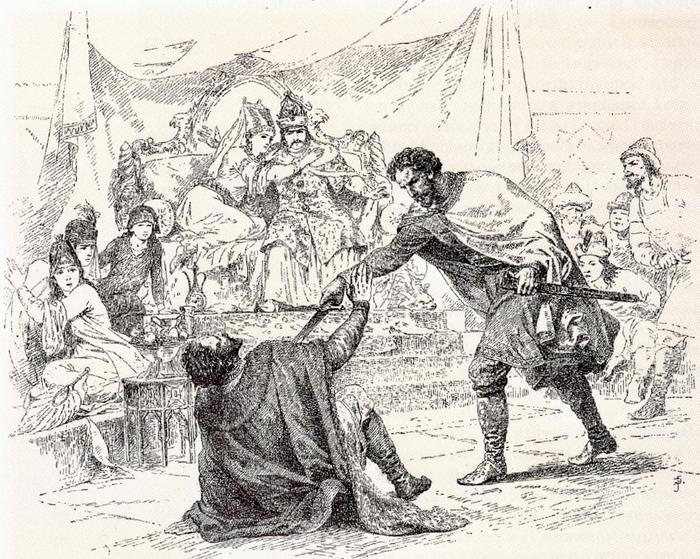 Князь Дмитрий расправляется с убийцей своего отца
