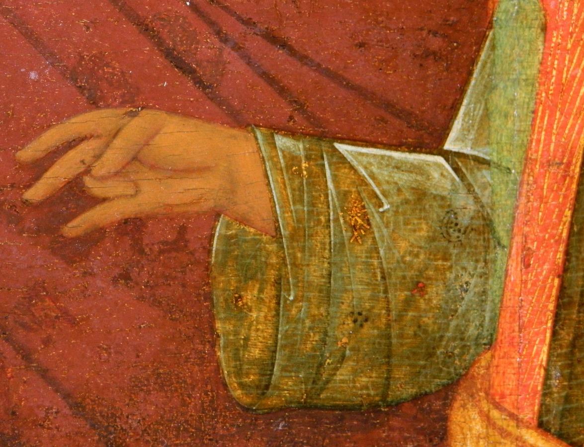 Фрагмент московской иконы «Богоматерь Одигитрия». Десница Младенца Христа. Фото автора