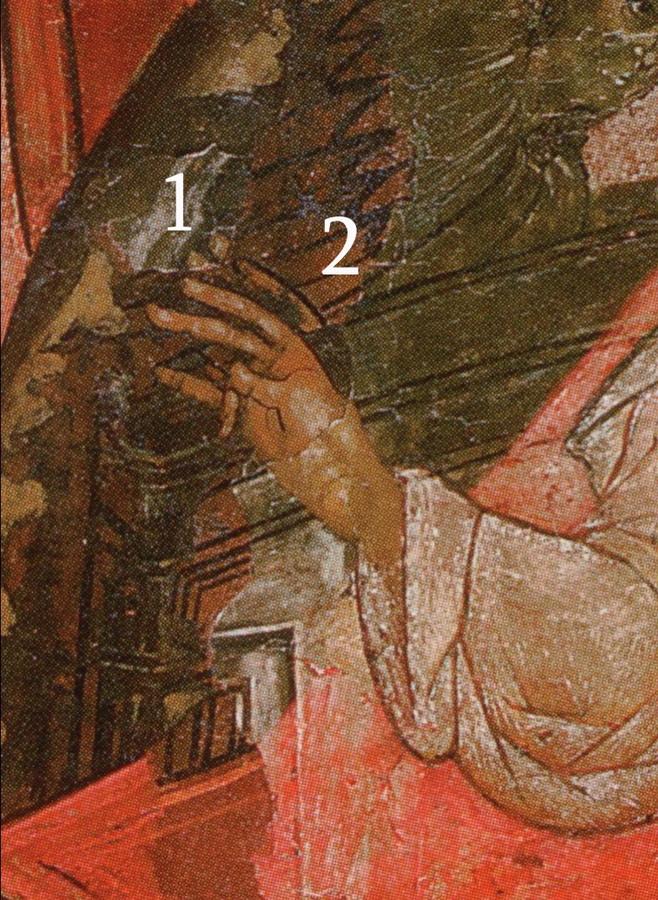 Фрагмент. Десница Господа Саваофа с разновременными слоями живописи