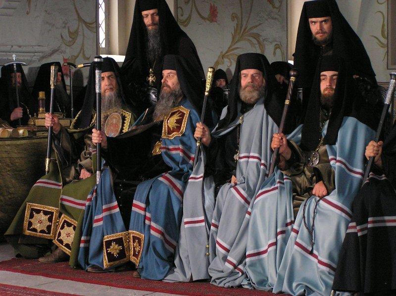 Греческие патриархи, участники Большого Московского собора 1666-1667 года. Фото со съемочной площадки  фильма «Раскол»