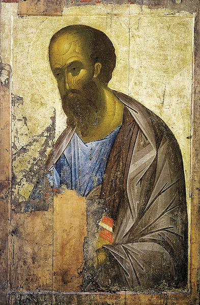 Апостол Павел. Автор — иконописец  Андрей Рублев, около 1410 г.