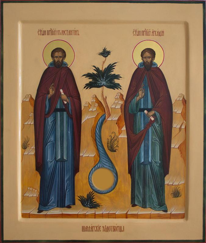 Икона Святые Преподобномученики Константин и Аркадий Шамарские. Автор иконы — Анастасия Антонова (Четвергова)