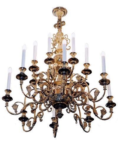 A chandelier with electric candles