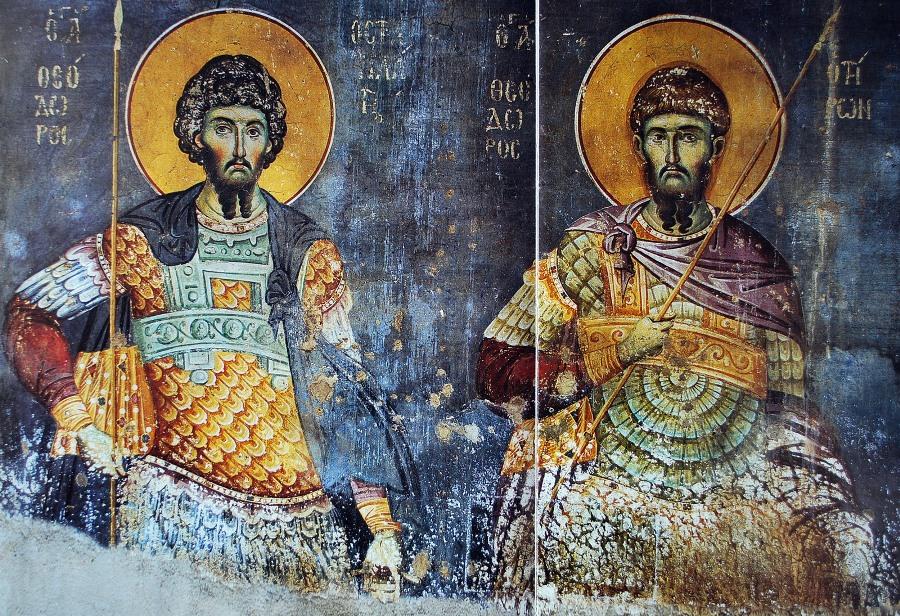 Святые воины Феодор Стратилат и Феодор Тирон. Мастер Мануил Панселин