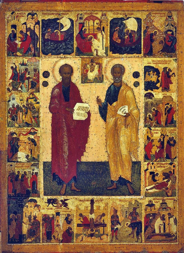 Икона апостолов Петра и Павла с клеммами. Великий Новгород, XVI век