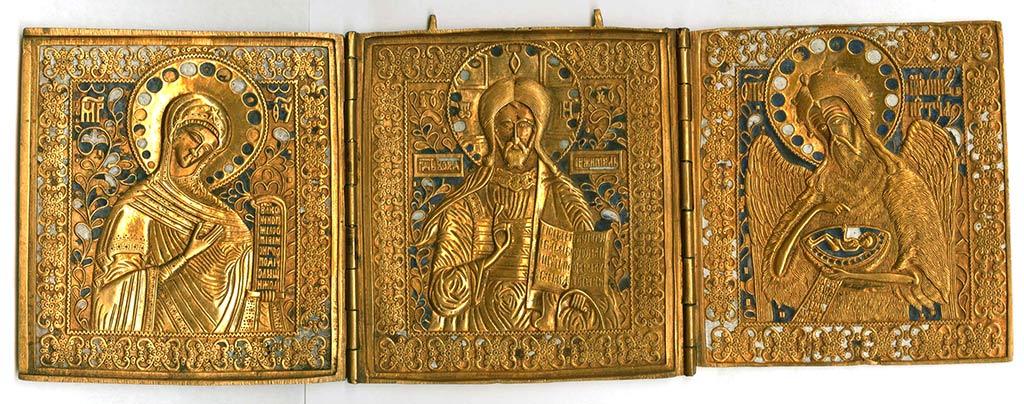 Складень трехстворчатый «Малый Деисус». Медный сплав, литье
