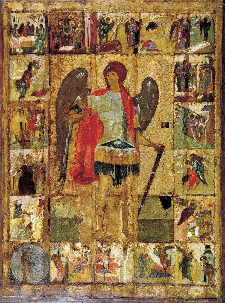 Икона Архангел Михаил с деяниями. Начало XV века