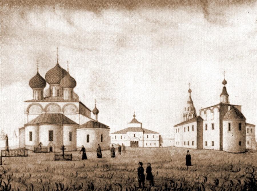 Николо-Улейминский монастырь. Акварель В.И. Серебрянникова, 1840-е годы XX века