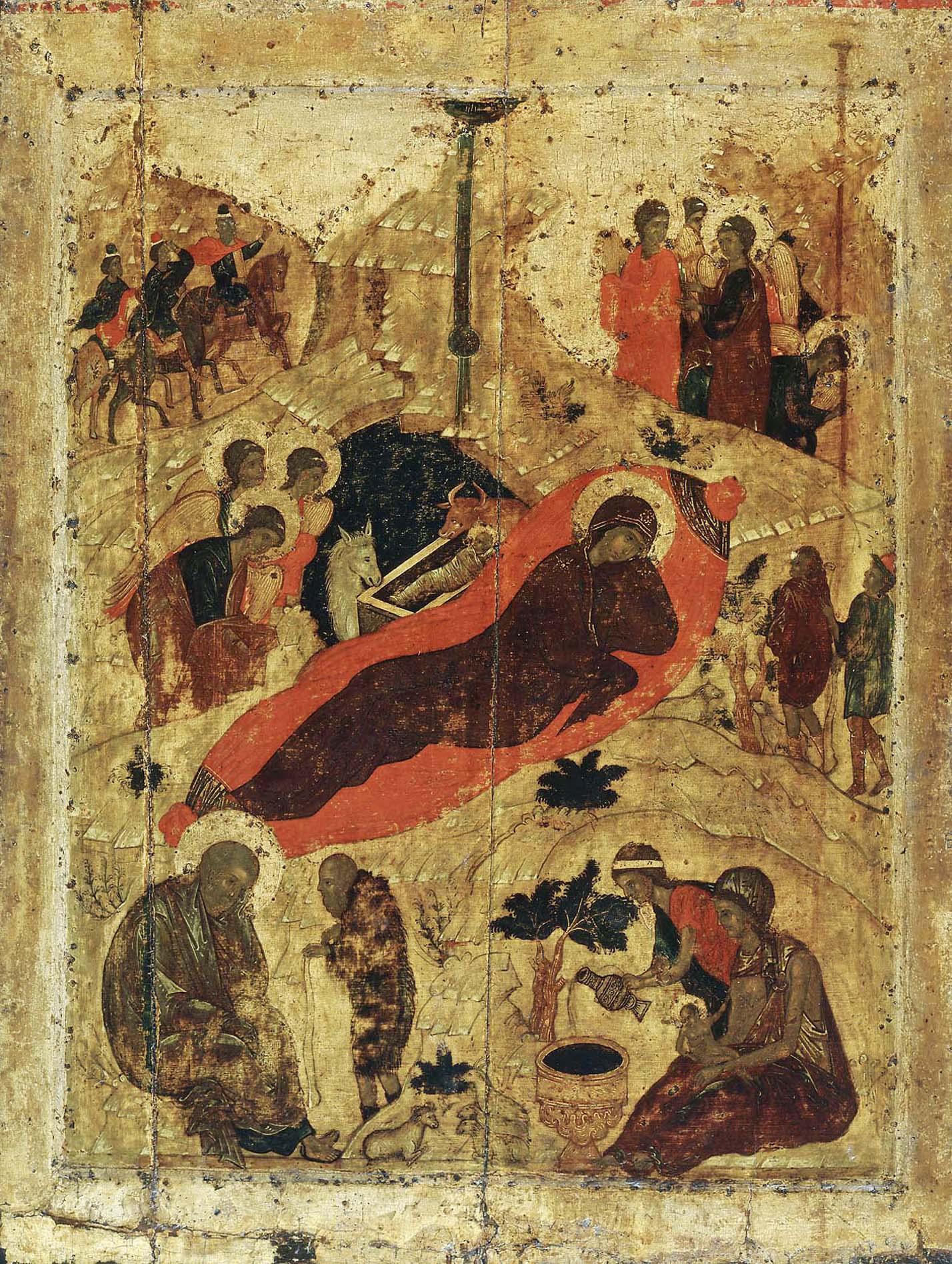 Рождество Христово. Икона Андрея Рублева, 1405 год. Благовещенский собор Московского Кремля