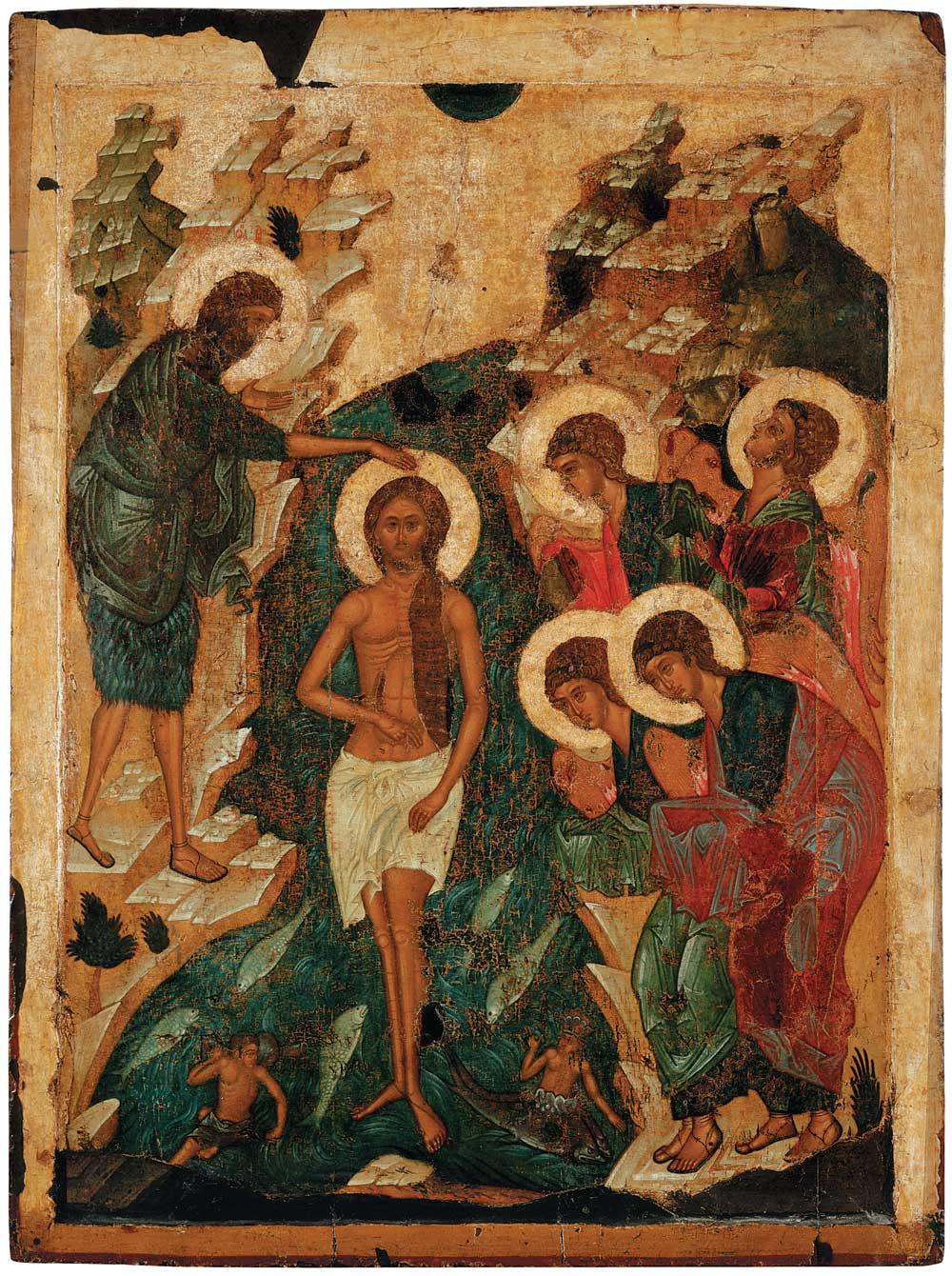 Крещение Господне. Икона из праздничного чина Успенского собора г. Владимира. 1408 г.