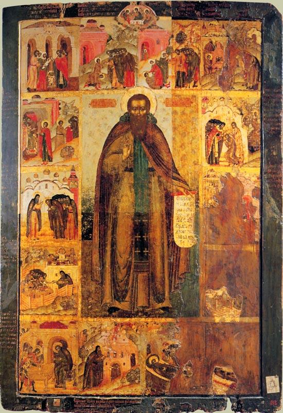 Преп. Феодосий Печерский с житием (икона XVII век)