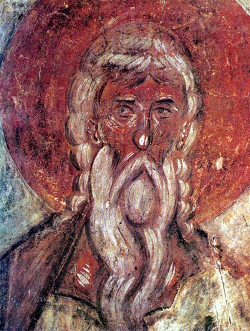 Св. Дионисий Ареопагит. Фрагмент фрески. Великий Новгород, Феофан Грек