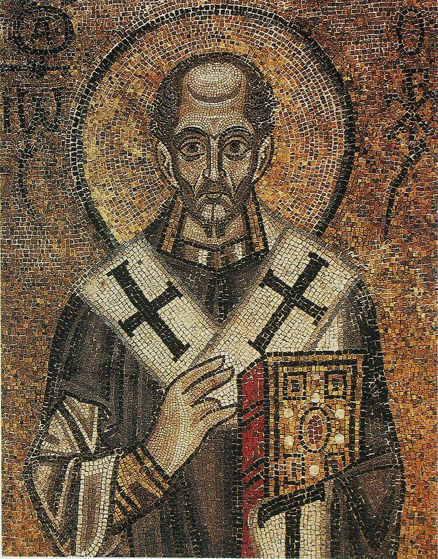 Святитель Иоанн Златоуст. Мозаика Софийского собора в Киеве (XI век)
