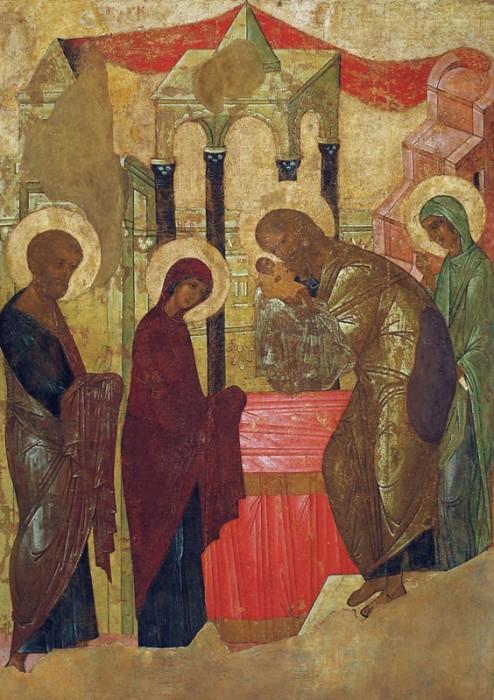 Икона Сретения Господня. Мастерская Андрея Рублева, 1408 г. Из иконостаса Успенского собора г. Владимира
