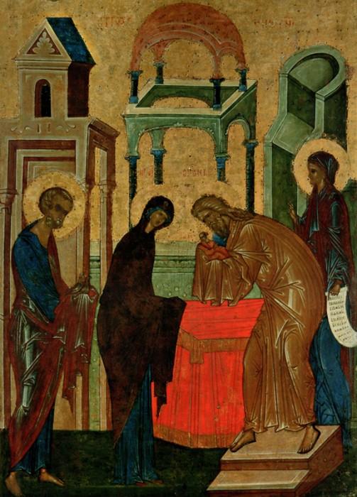Икона Сретения Господня из иконостаса Успенского собора Кирилло-Белозерского монастыря. Около 1497 г.