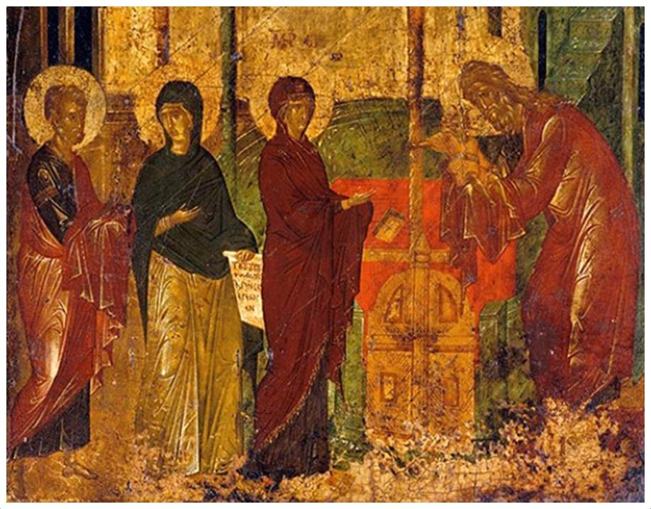 Сретение Господне. Фрагмент византийской иконы. XV век
