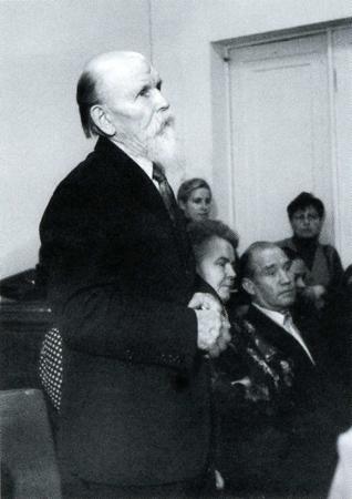Руководитель Стрельниковского хора И. А. Сергеев выступает перед преподавателями и студентами ГМПИ им. Гнесиных (1984 год)