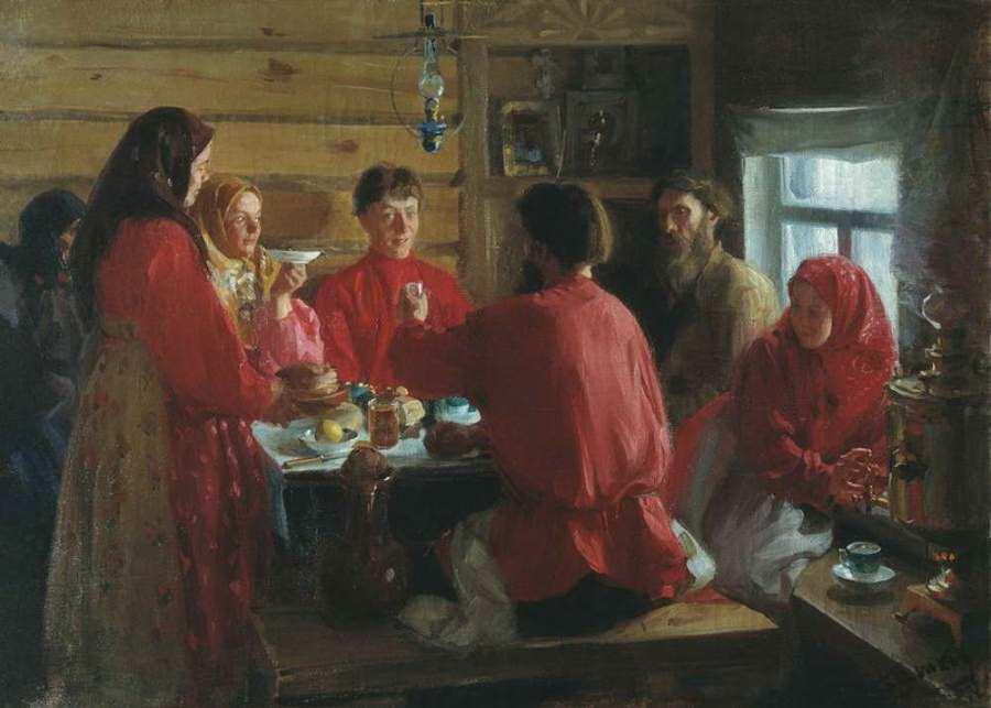Иван Куликов. «Чаепитие в крестьянской избе», 1902 г.