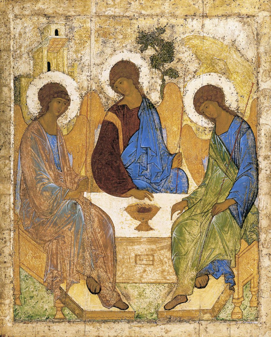 В конце XIV — начале XV в. А. Рублев создал свой шедевр — икону «Троица» на сюжет «гостеприимство Авраама». Государственная Третьяковская галерея