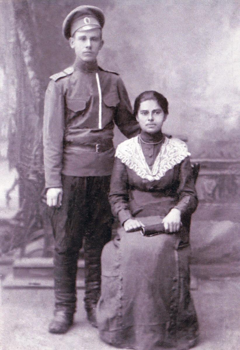 Будущий старообрядческий священник о. Михаил Карпов с супругой Марией. Фотография из семейного архива потомков