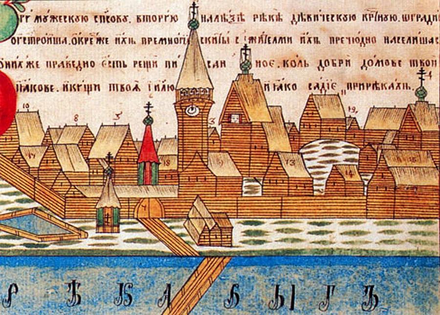 Выголексинский монастырь. Фрагмент лубка. Пер. пол. XIX в.