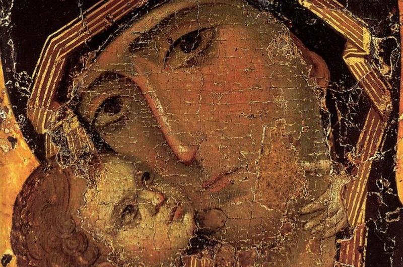 Владимирская икона Божией Матери. 1-я треть XII в. Деталь иконы