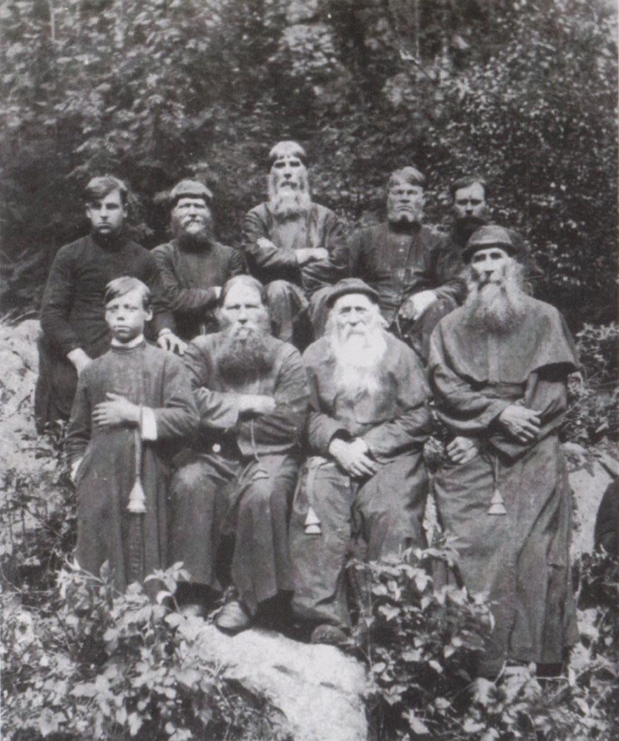 Старообрядцы-часовенные во время моления на Веселых горах близ Тагила на Урале. Фото начала XX века