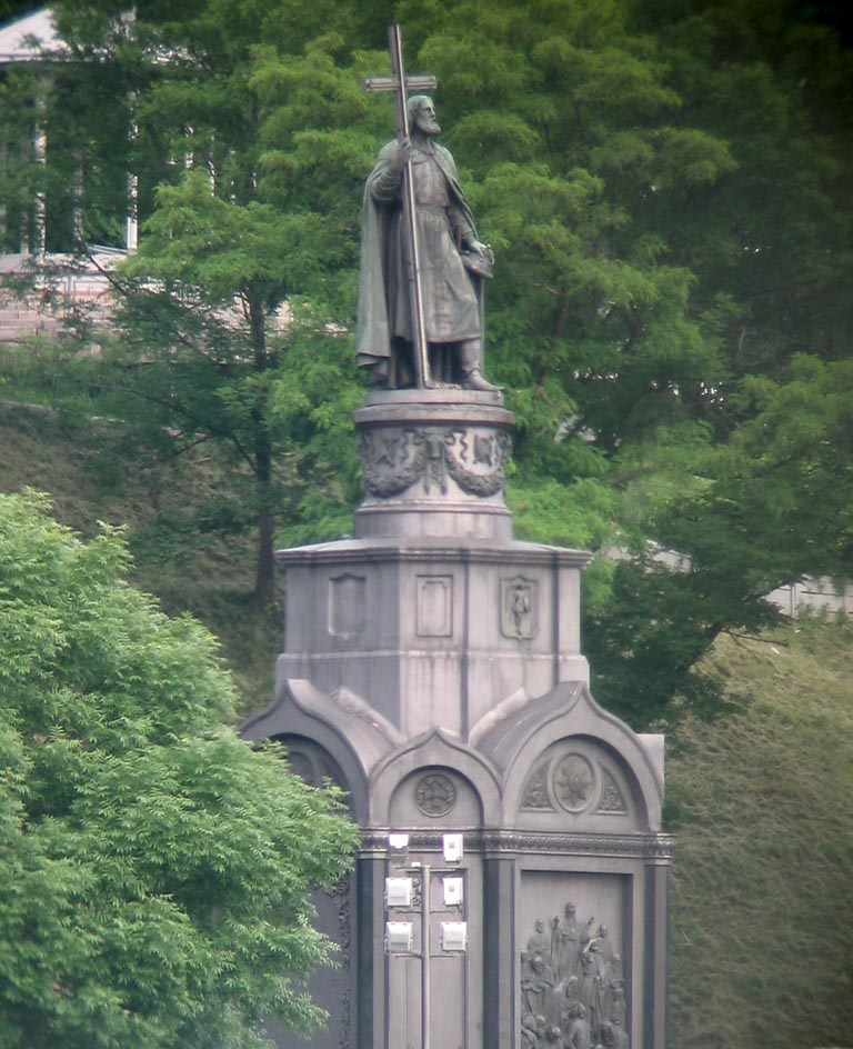Памятник Владимиру Великому в Киеве. Установлен в 1853 году