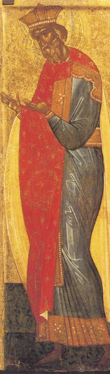 Святой равноапостольный князь Владимир. Икона. Новгород, 1-ая треть XV века. Из собрания И.С. Остроухова. ГТГ
