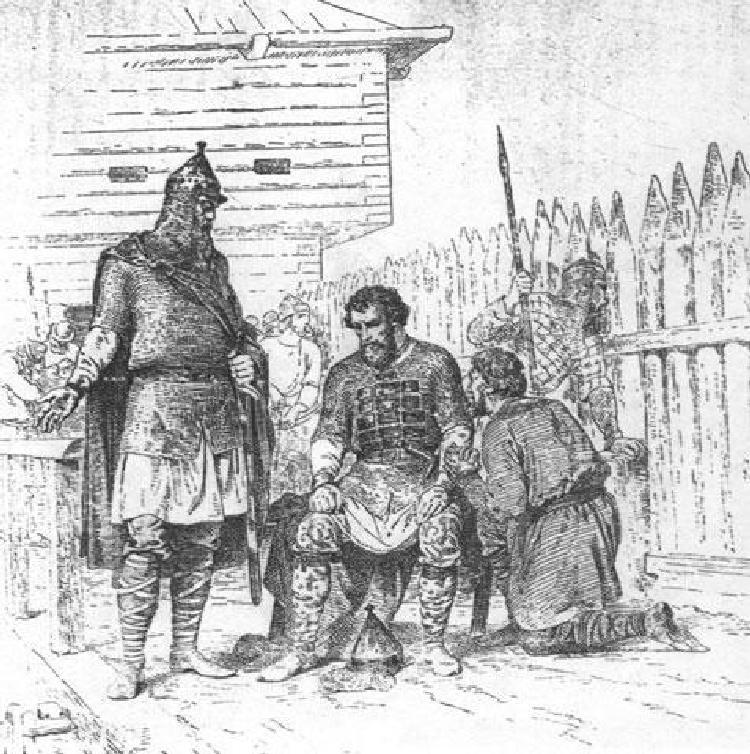 Князь Ярополк с Блудом (слева) и Варяжко (справа). В.П. Верещагин