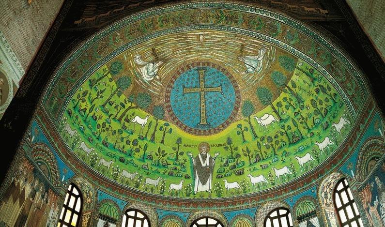 Преображение Господне. Мозаика апсиды базилики Сан Аполлинаре ин Классе. Рим, Италия. 549 г.