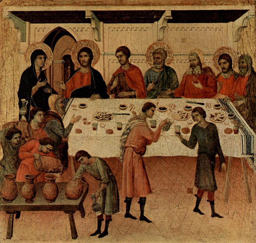 Брак в Кане Галилейской. Чудо о претворении воды в вино (Ин. 2, 1-11). Фрагмент «Маэста» Дуччо, 1308 — 1311 гг.