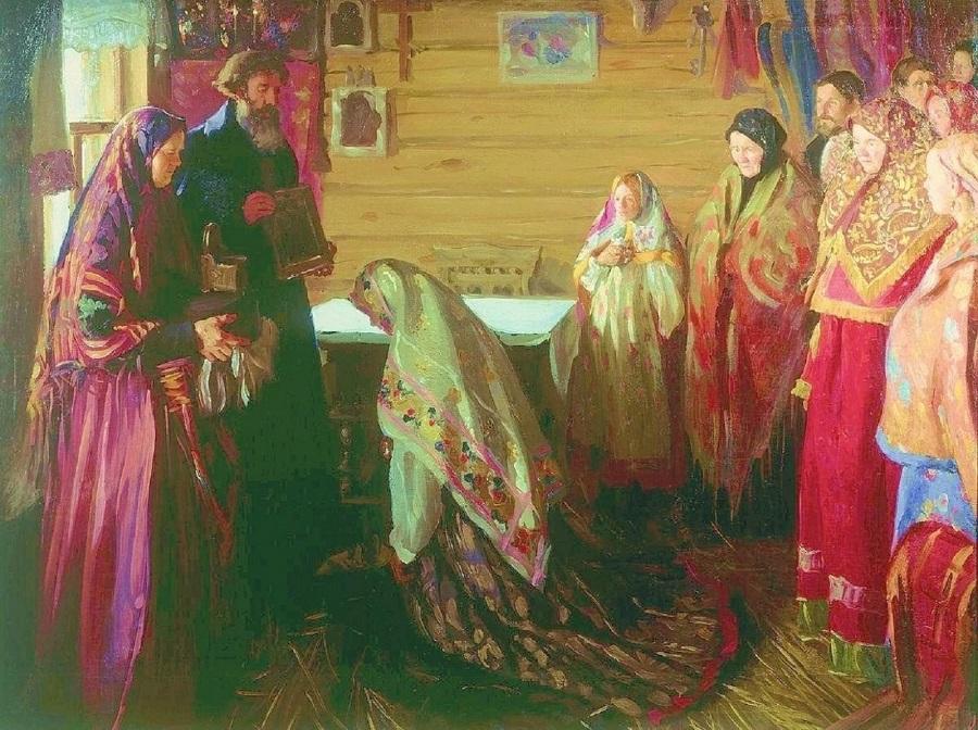 И. С. Куликов «Старинный обряд благословения невесты в городе Муроме». 1909 год