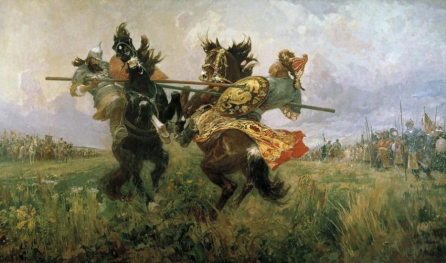 М.И. Авилов «Поединок Пересвета с Челубеем»