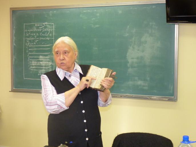 Доктор исторических наук, профессор Ирина Васильевна Поздеева — ведущий лектор «Школы истории кириллического книгопечатания и археографии»