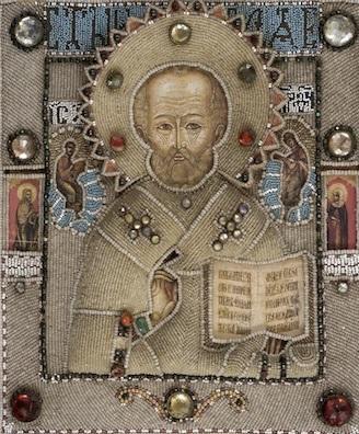 Св. Никола Чудотворец с избранными святыми на полях (в шитом окладе). Последняя четверть XVIII века