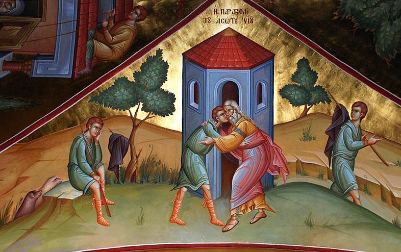 Притча о блудном сыне. Греческий Фаворский монастырь, современная фреска. Пример покаяния описан в библейской притче о блудном сыне