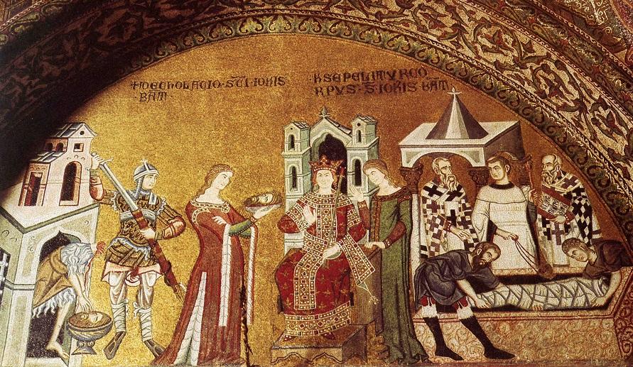 Усекновение главы Иоанна Предотечи. Пир Ирода. Погребение Иоанна Предтечи. Мозаика баптистерия собора Сан-Марко в Венеции. 1343-1354 гг.