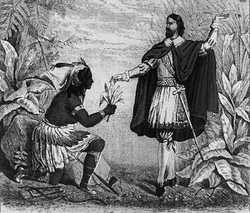 Колумб получает в дар табачные листья