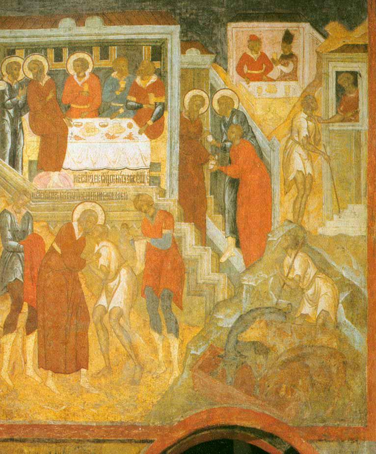 Притча о блудном сыне. Церковь Троицы в Никитниках. Фреска, вторая половина XVII века