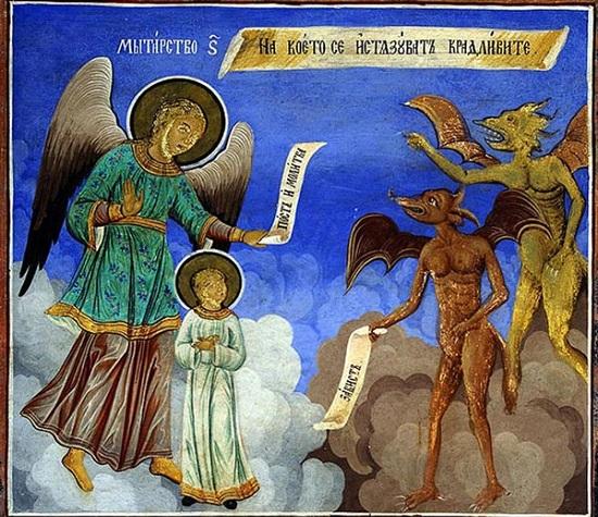 Мытарства, которые проходит душа после смерти. Фреска Рыльского монастыря, Болгария, XVIII в.
