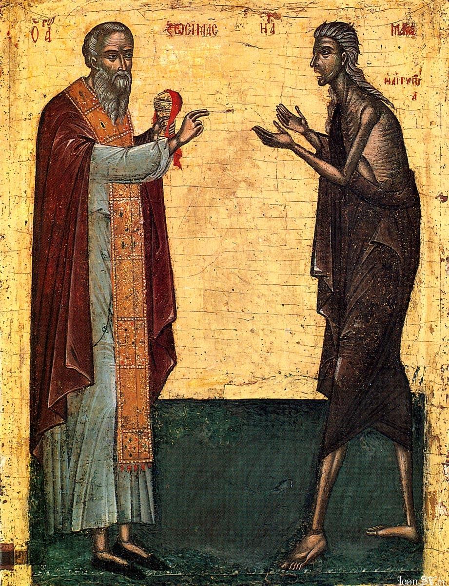 Преподобные Зосима и Мария Египетская. Греция, Афон, Монастырь Дионисиат. До 1577 г.