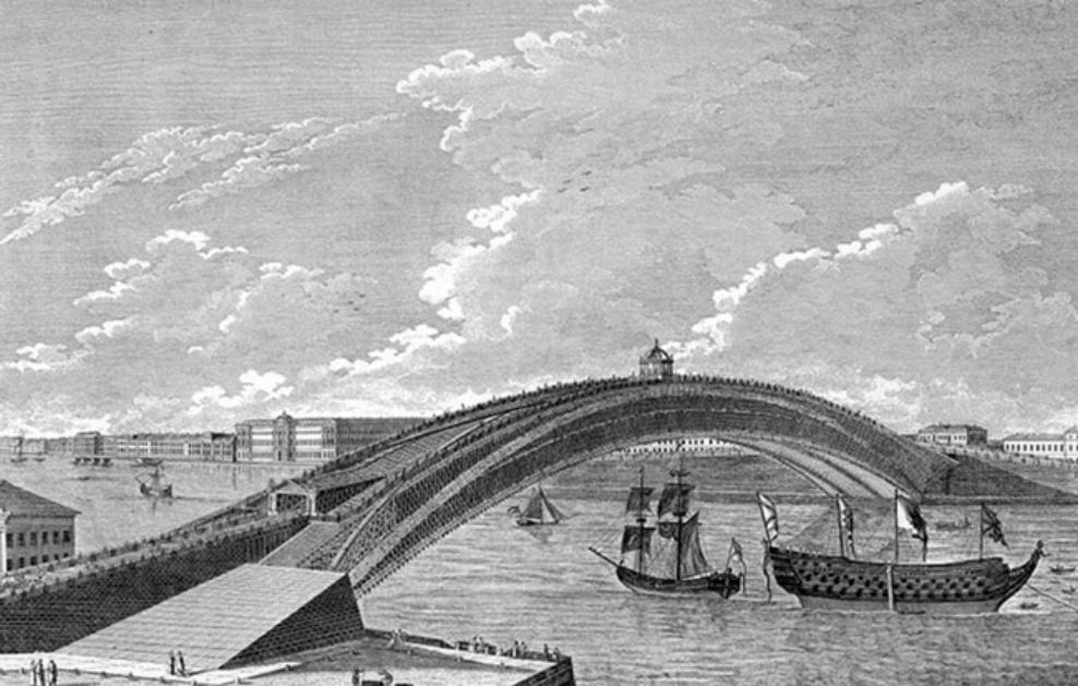Проект моста через реку Неву в Петербурге, разработанный Кулибиным