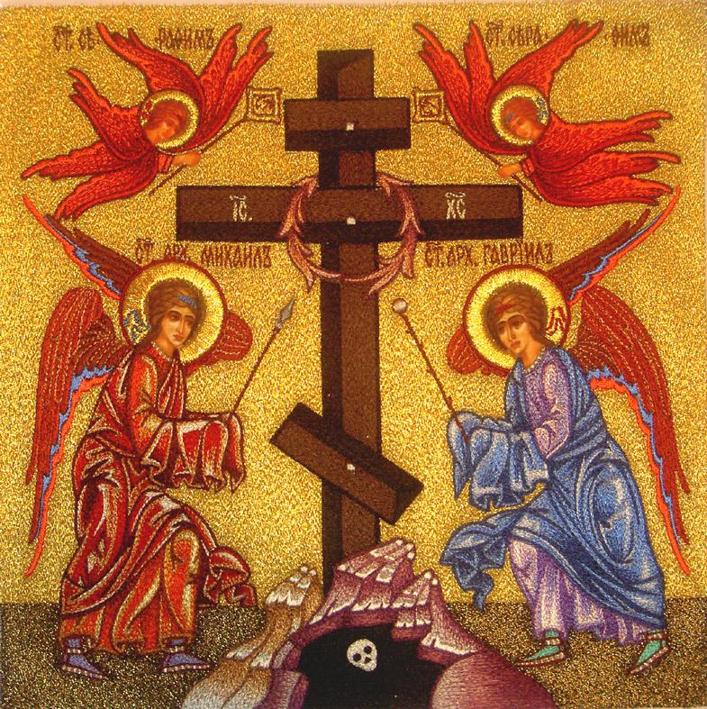 Современная икона Поклонение Кресту