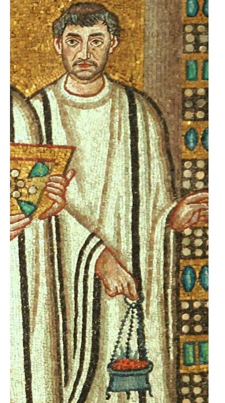 Кадило на цепочках. Фрагмент мозаики базилики Сан-Витале, Равенна. VI век
