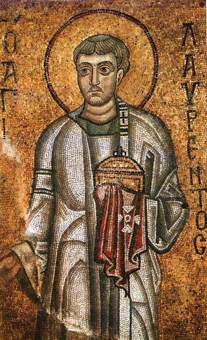 Архидиакон Лаврентий с ладаницей и кадилом. Мозаика Софийского собора в Киеве, XI век