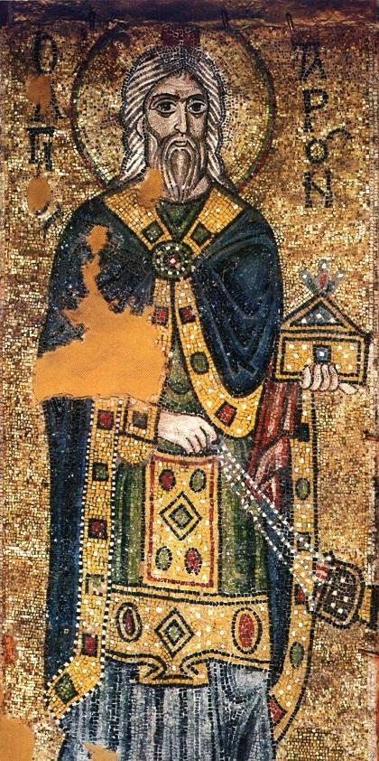 Первосвященник Аарон с ладаницей и кадилом. Мозаика собора Святой Софии в Киеве. Сер. XI в.
