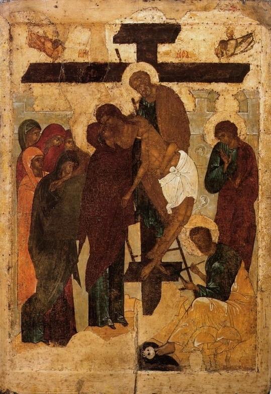 Икона Снятие со Креста из праздничного чина Корнильева Комельского монастыря. Первая четверть XVI века