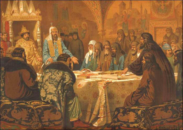 Патриарх Никон предлагает новые богослужебные книги. Начало раскола 1654 г. Художник А.Д. Кившенко, 1880 г.